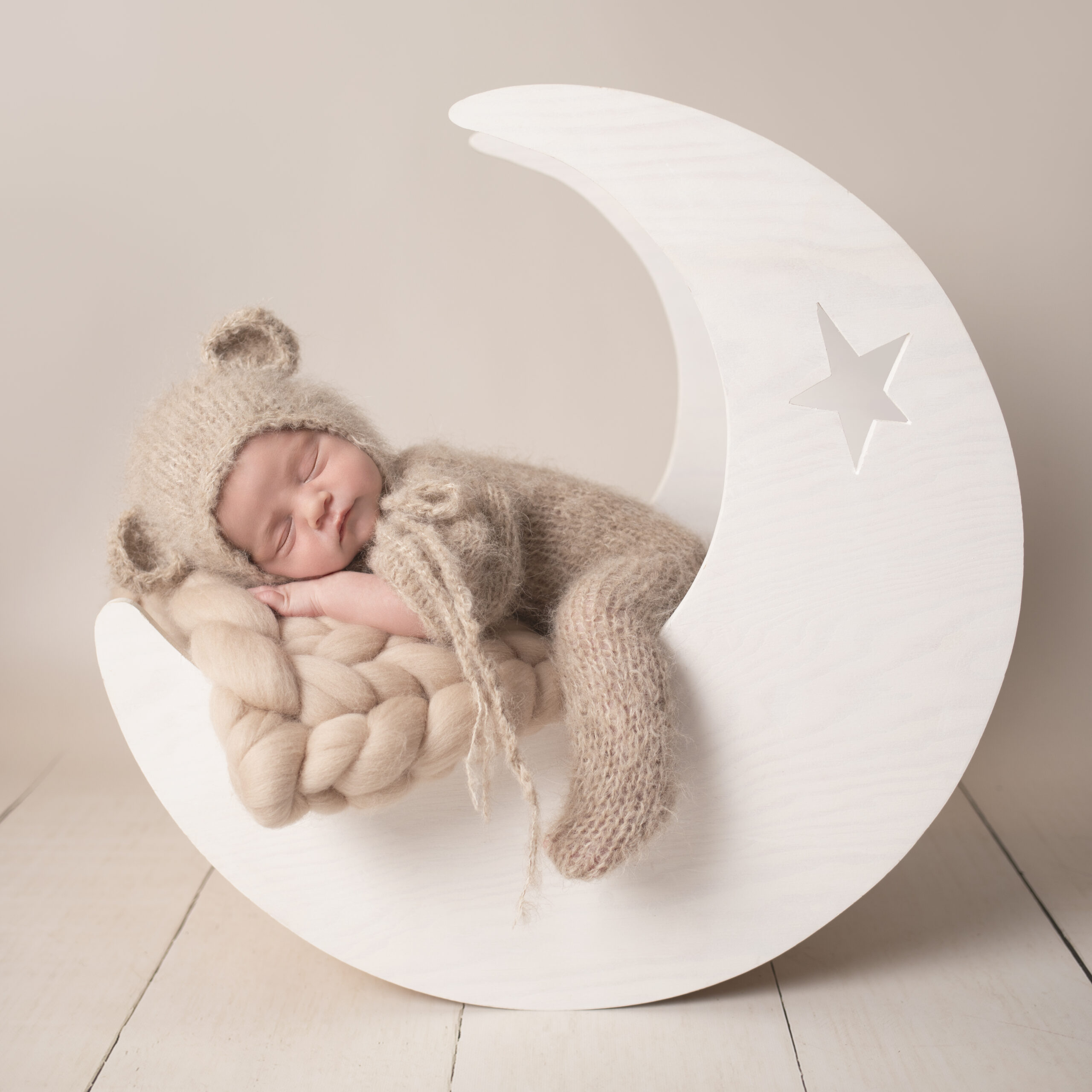 Newborn photoshoot north west baby teddy bear in moon