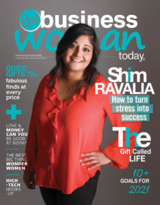 Shim Ravalia from The Gut Intuition on the cover of The Business Woman Today magazine. Photo by Xposure Studios.