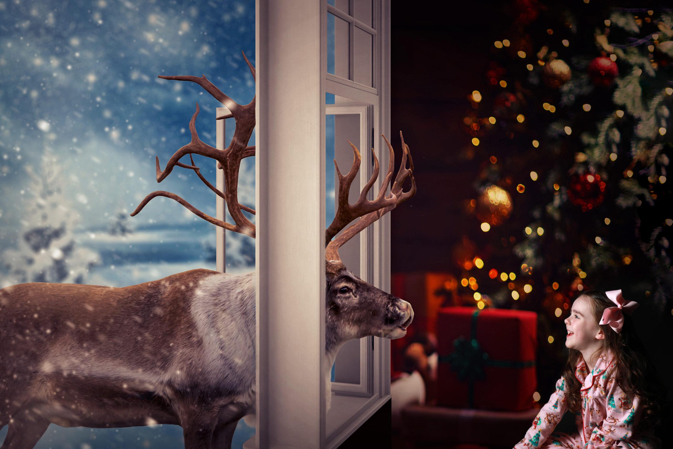 little girl christmas reindeer in window