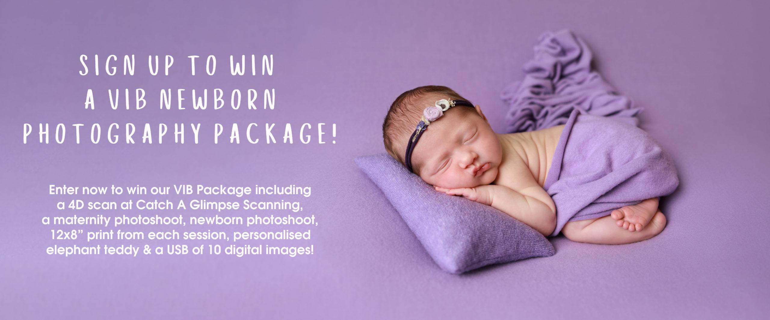 baby girl newborn photoshoot on purple backdrop wearing purple flower headband